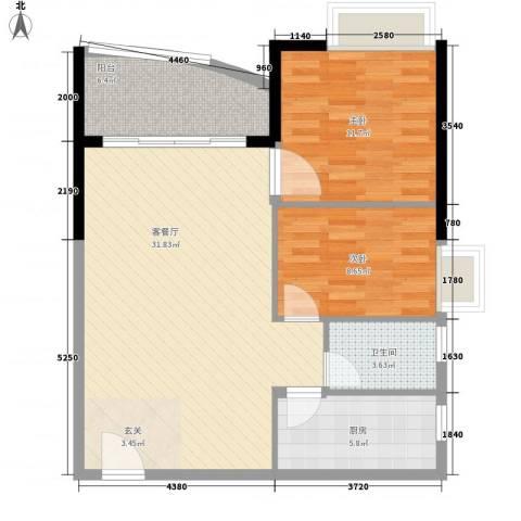 邮电宿舍2室1厅1卫1厨95.00㎡户型图