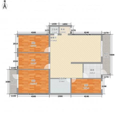 河柏花园4室1厅2卫1厨136.00㎡户型图