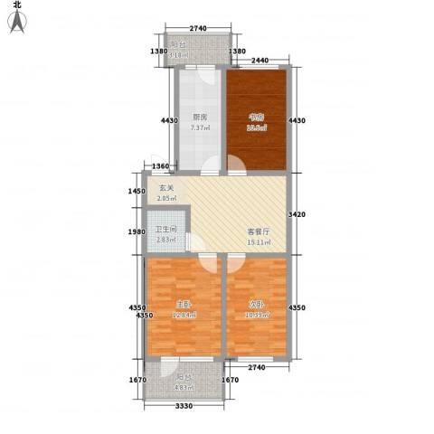 河柏花园3室1厅1卫1厨77.00㎡户型图
