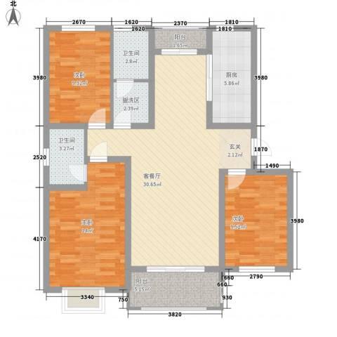 九里景秀3室1厅2卫1厨123.00㎡户型图