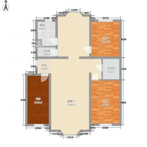 金碧花园3室1厅2卫1厨144.00㎡户型图