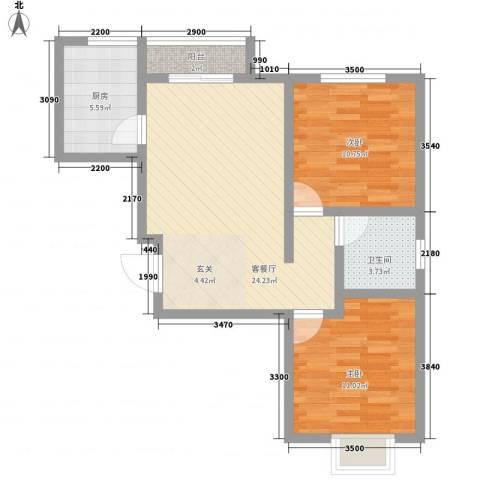 印染新村2室1厅1卫1厨80.00㎡户型图