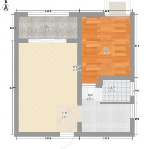 新江桥小区1室1厅1卫0厨57.00㎡户型图