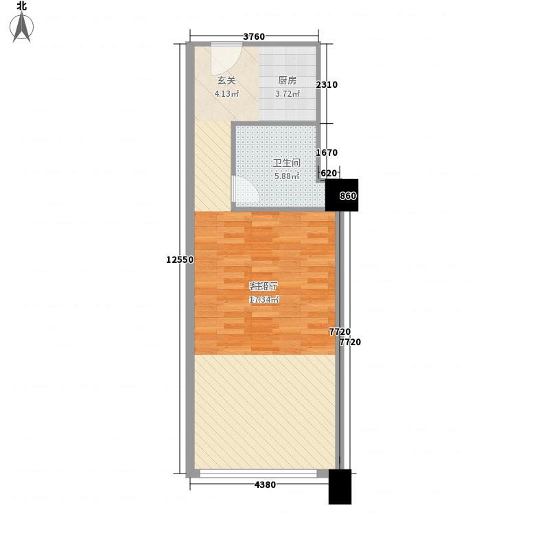象溪・MINI微公馆64.66㎡标准平面图户型1室1厅1卫1厨