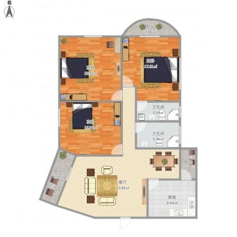 桂花苑3室1厅2卫1厨154.00㎡户型图