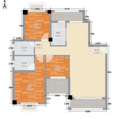 万豪天悦广场3室1厅2卫1厨122.00㎡户型图