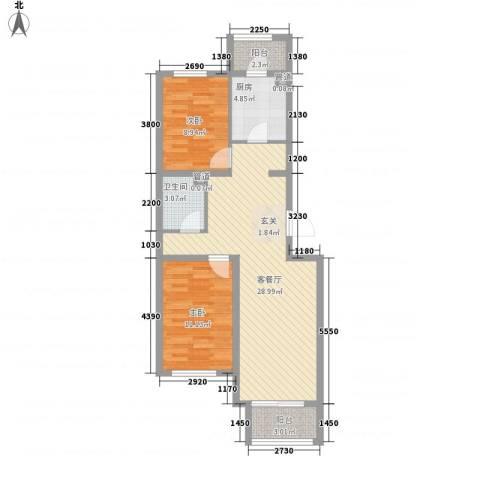 正通花园2室1厅1卫1厨91.00㎡户型图