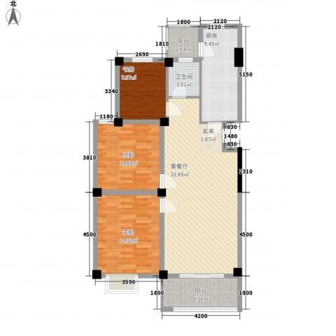 天赐佳园3室1厅1卫1厨88.00㎡户型图