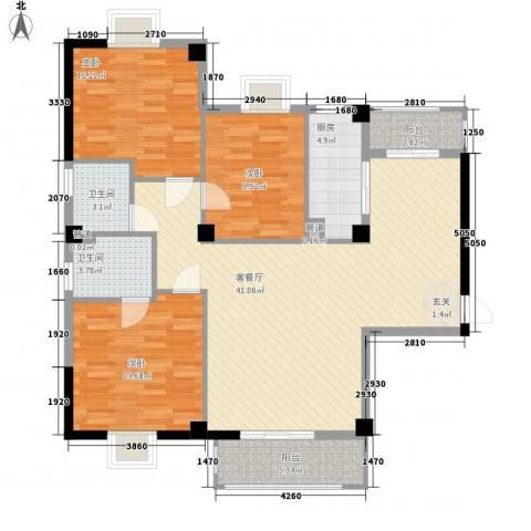 绿苑水岸名筑3室1厅2卫1厨97.00㎡户型图