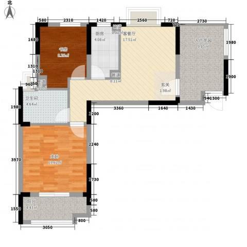 发能太阳海岸2室1厅1卫1厨76.00㎡户型图
