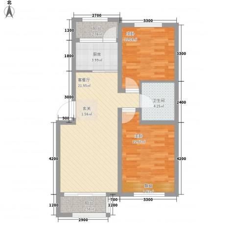 哈东城市公元2室1厅1卫1厨81.00㎡户型图