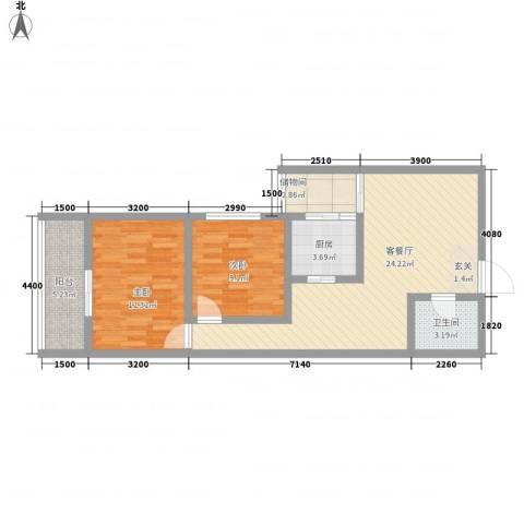 皇城美居2室1厅1卫1厨87.00㎡户型图