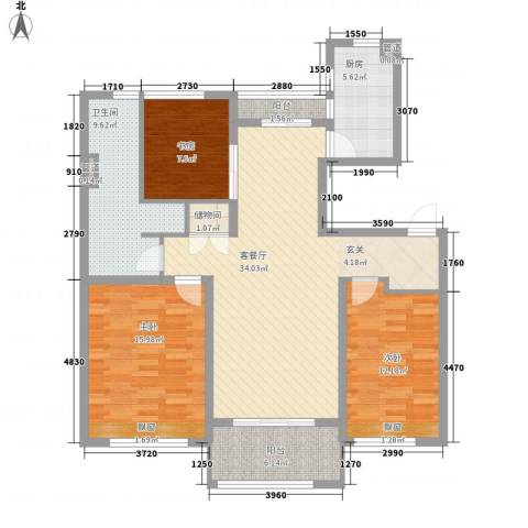 太湖新城3室1厅1卫1厨135.00㎡户型图