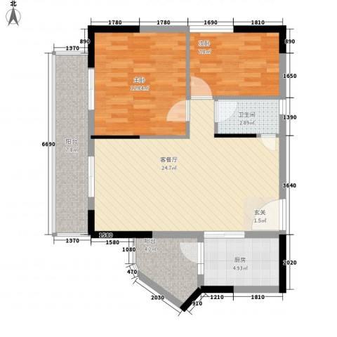 明日华府2室1厅1卫1厨69.00㎡户型图
