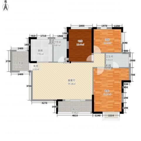 洒金桥小区3室1厅2卫1厨159.00㎡户型图