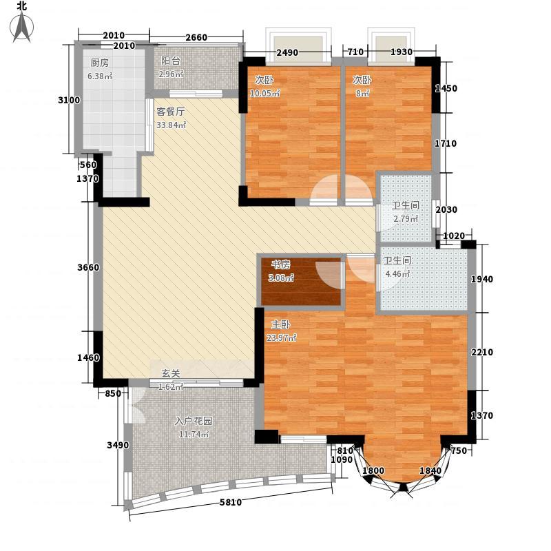 罗马家园二期158.00㎡3室2厅户型3室2厅2卫1厨