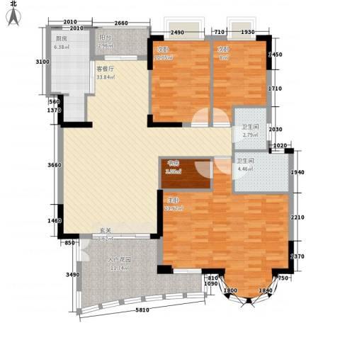 罗马家园二期4室1厅2卫1厨158.00㎡户型图