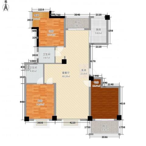 天赐佳园3室1厅2卫1厨136.00㎡户型图