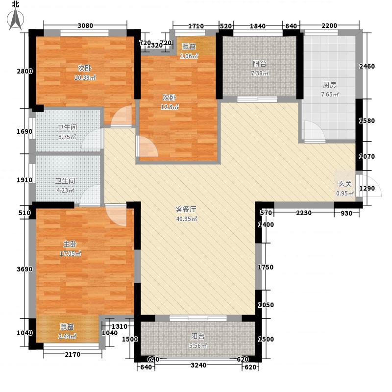 维佳武昌府二期和郡138.60㎡6、7号楼C3户型3室2厅2卫1厨