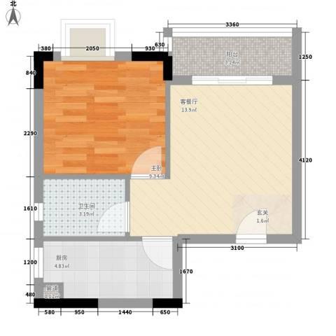 罗马家园二期1室1厅1卫1厨50.00㎡户型图