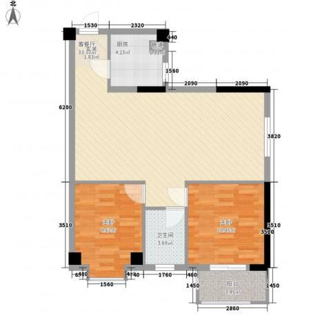 绿苑水岸名筑2室1厅1卫1厨84.00㎡户型图