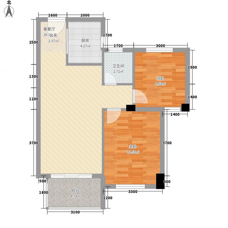 融信观山海76.00㎡一期3、8#B1/B2户型2室2厅1卫