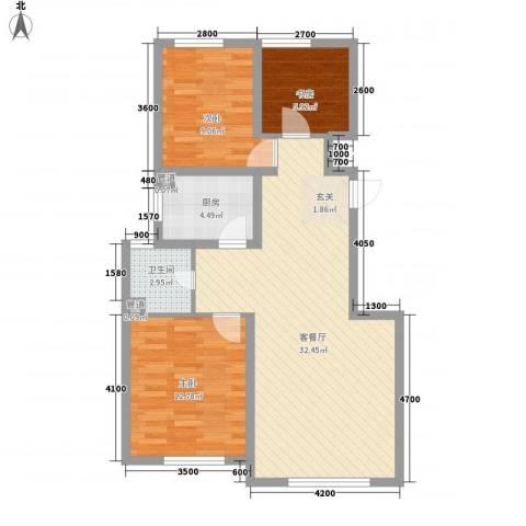 大禹褐石公园3室1厅1卫1厨97.00㎡户型图