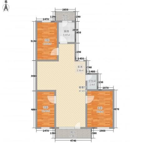 河柏花园3室1厅1卫1厨114.00㎡户型图