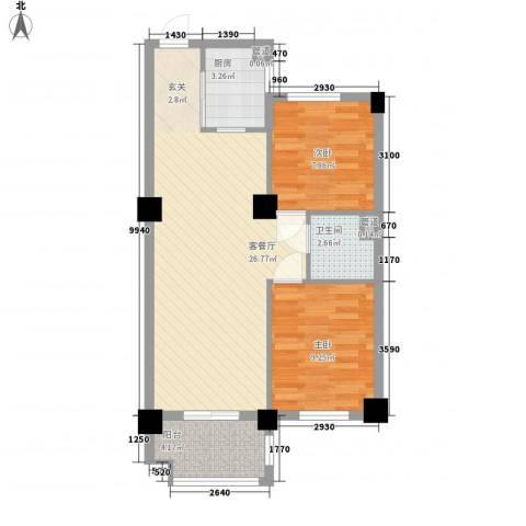 香槟水郡2室1厅1卫1厨78.00㎡户型图