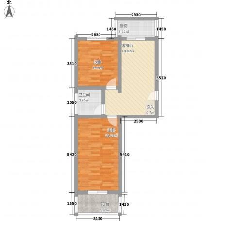 幸福苑2室1厅1卫1厨58.37㎡户型图