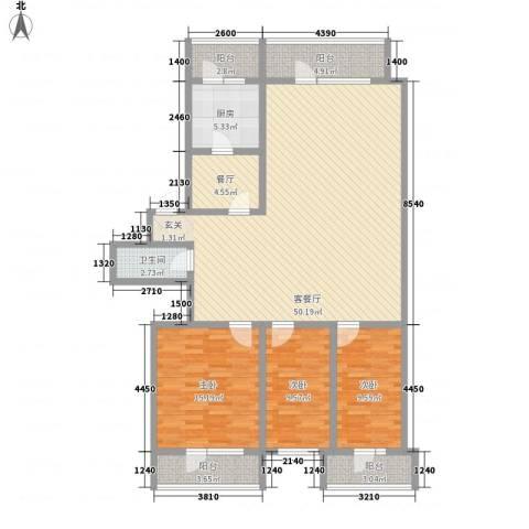 河柏花园3室2厅1卫1厨127.00㎡户型图