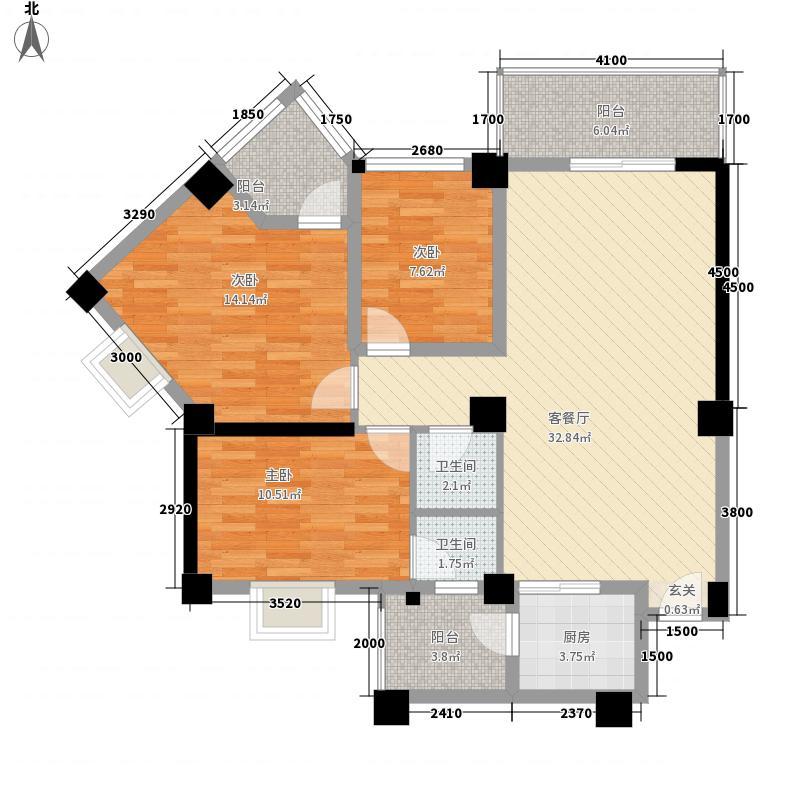 中润嘉园3.36㎡3#楼C户型2室2厅2卫1厨