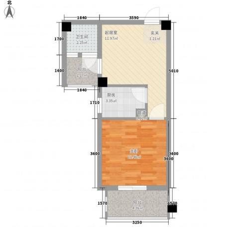 绿苑水岸名筑1室0厅1卫1厨44.00㎡户型图