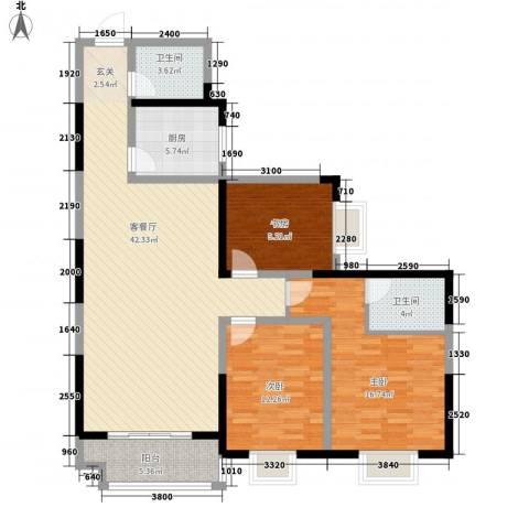 百花御景名都3室1厅2卫1厨136.00㎡户型图