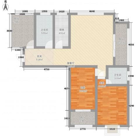 上海花园2室1厅2卫1厨124.00㎡户型图