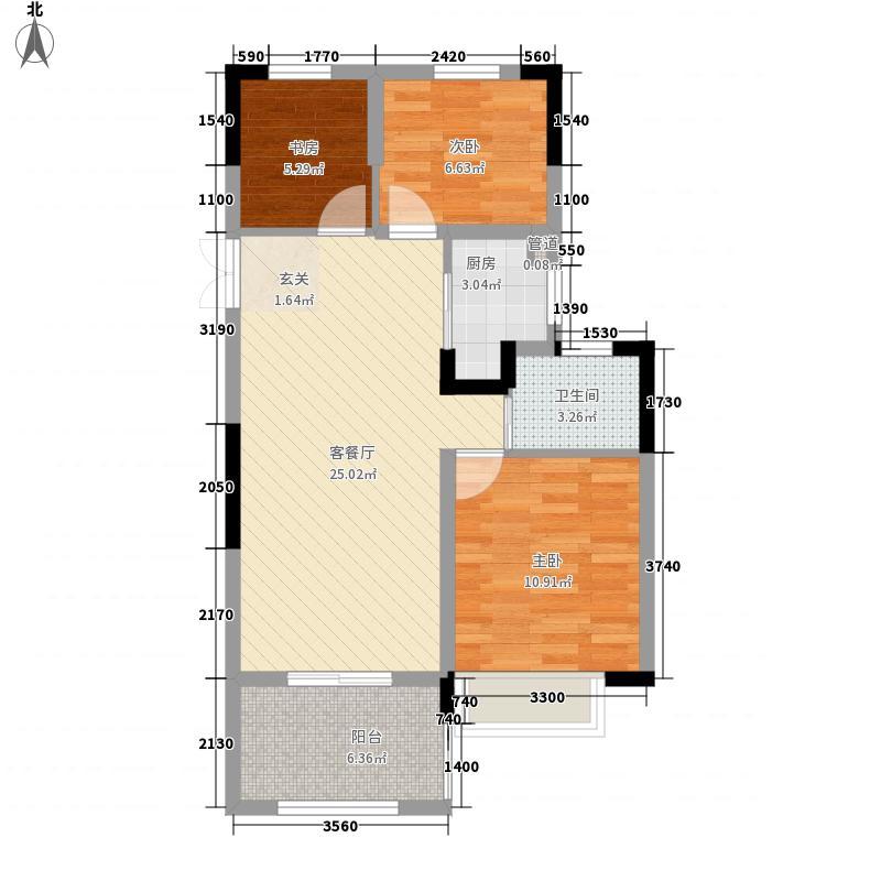 华章・御树湾87.00㎡8#9#G户型2室2厅1卫1厨
