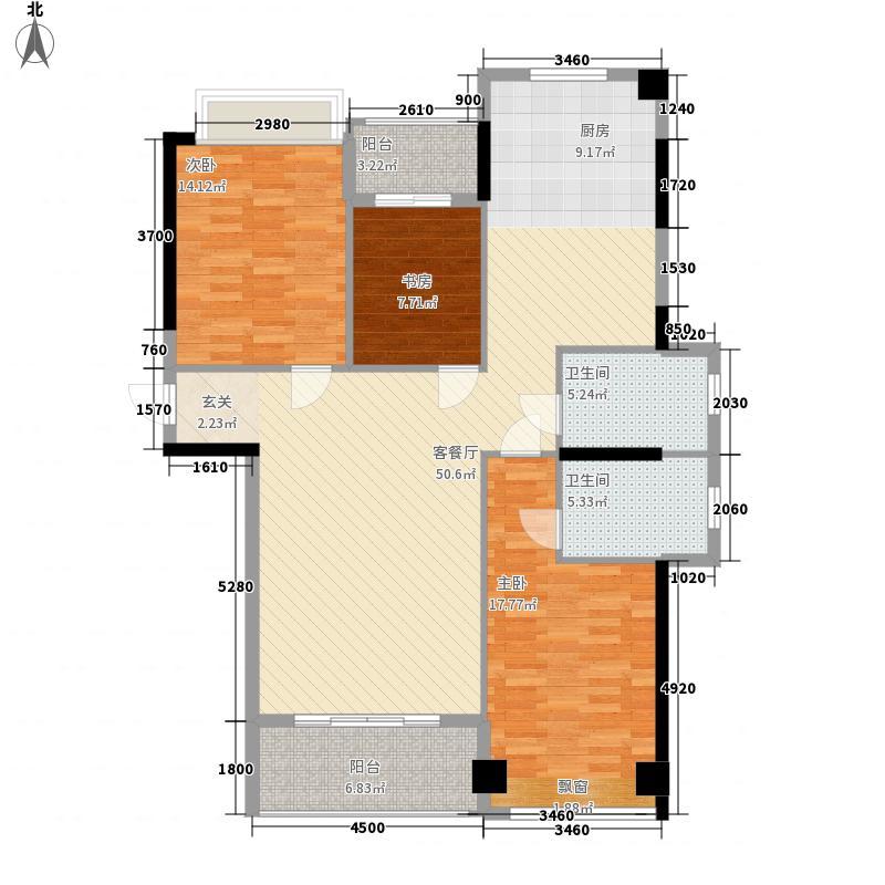 智汇时代128.00㎡3栋501户型3室2厅2卫1厨