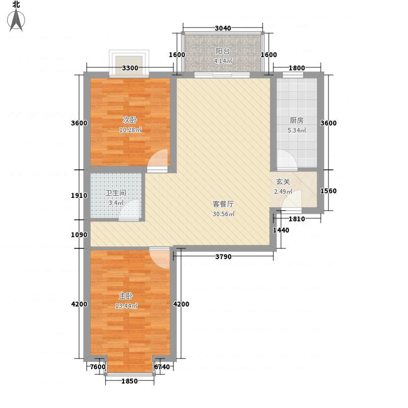 新城阳光5.71㎡B5户型2室2厅1卫1厨