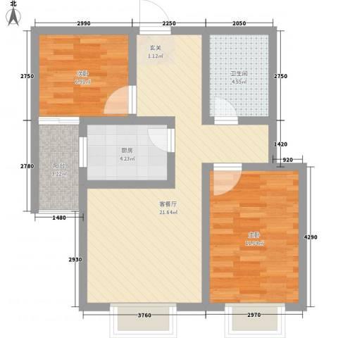 鼎原时代2室1厅1卫1厨77.00㎡户型图