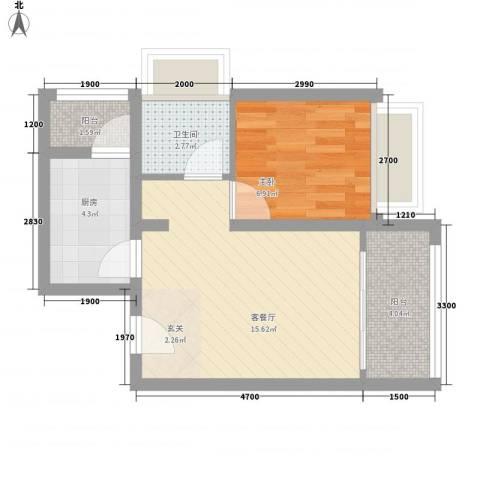哈东城市公元1室1厅1卫1厨50.00㎡户型图