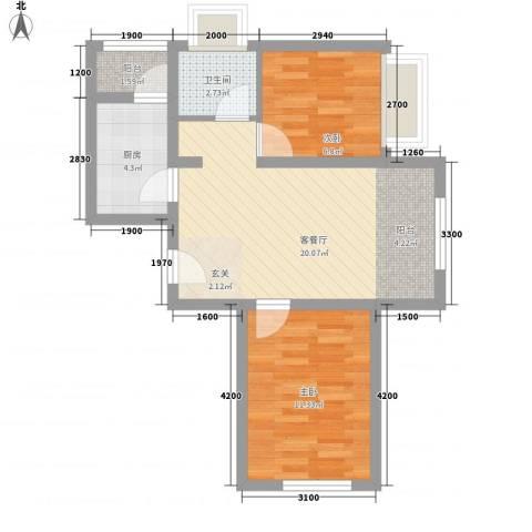 哈东城市公元2室1厅1卫1厨67.00㎡户型图