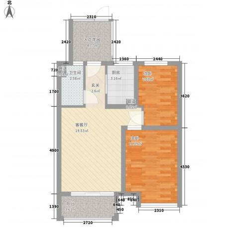 怡和四季园筑2室1厅1卫1厨86.00㎡户型图