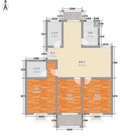 永泰家园3室1厅2卫1厨132.00㎡户型图