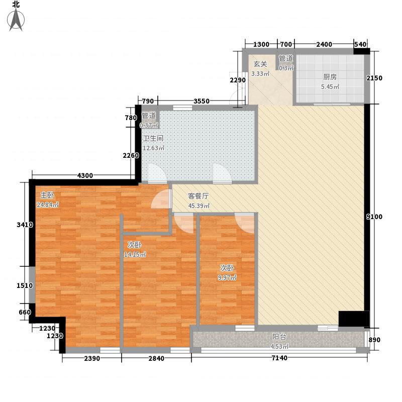 大连中心3室1厅1卫1厨163.00㎡户型图