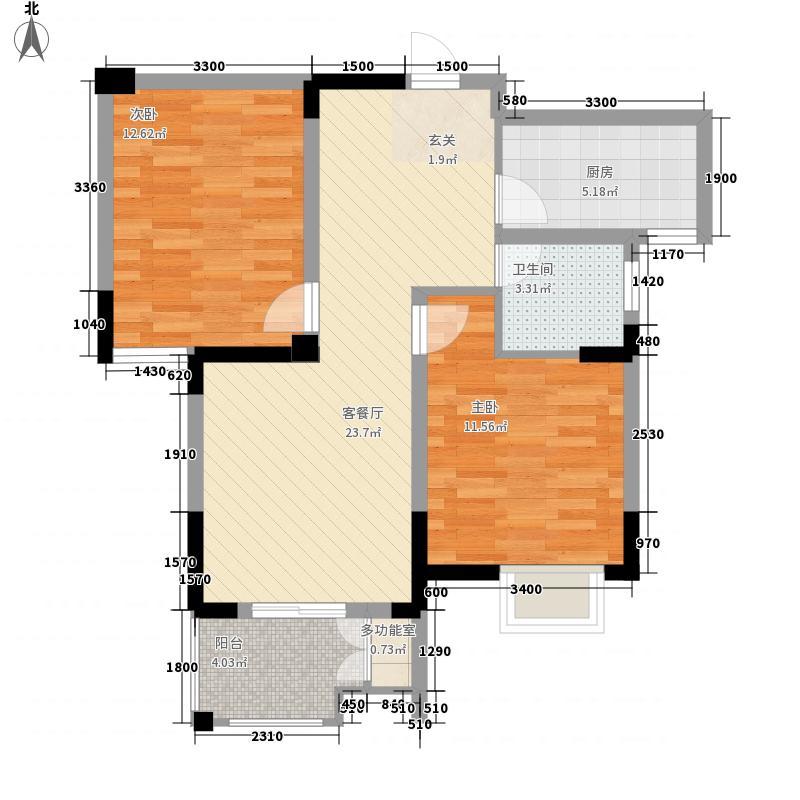 松林苑户型图2-2 3室2厅1卫1厨