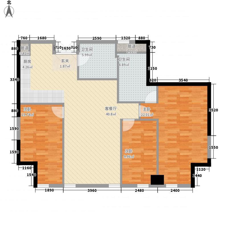 大连中心3室1厅2卫0厨147.00㎡户型图