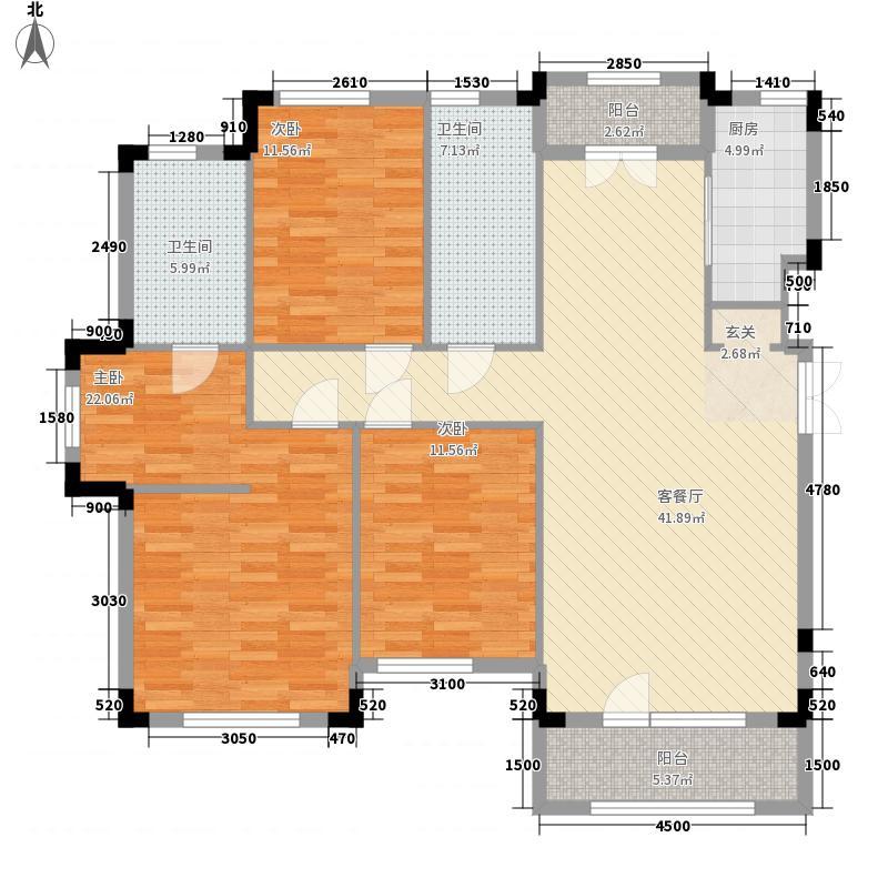 保利西山林语3室1厅2卫1厨113.17㎡户型图