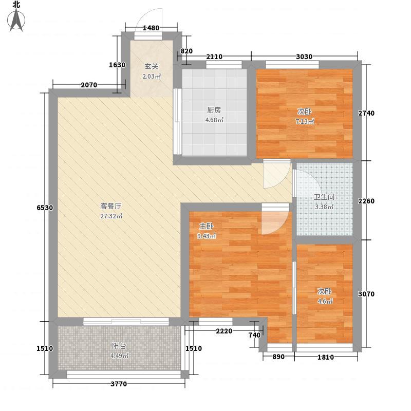 怡和四季园筑88.00㎡一期3、4、7号楼标准层A户型2室2厅1卫1厨