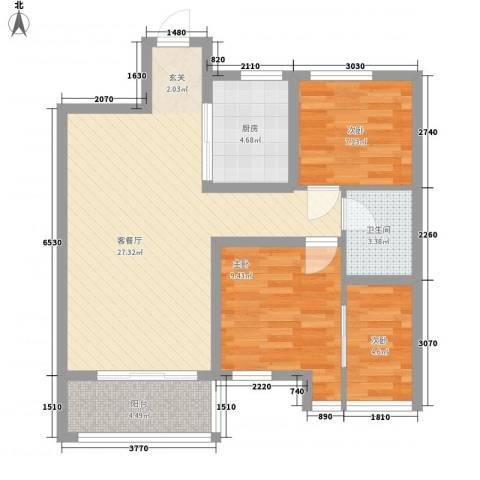 怡和四季园筑3室1厅1卫1厨88.00㎡户型图