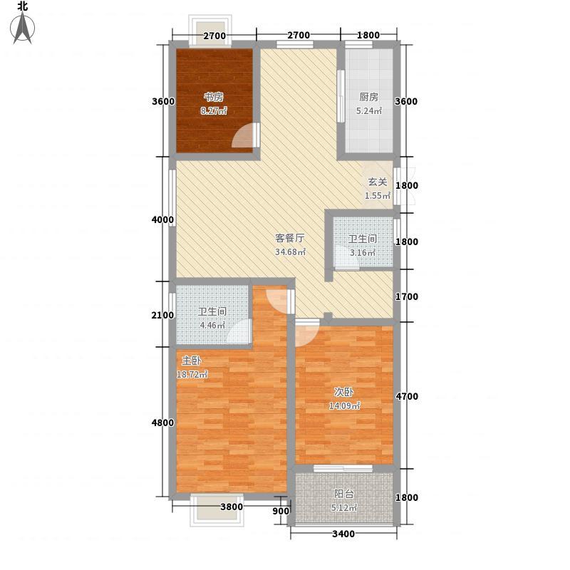 宁泽园132.10㎡一期1号楼G6户型3室2厅2卫1厨